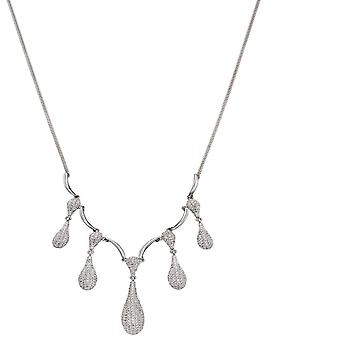 Elements Silver Zirconia Pave Organic Drop Necklace N4362C