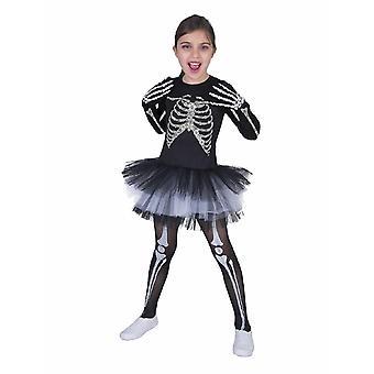 Kostüm Kleid Skelett Kind  Kinderkostüm Mädchen Kostüm Halloween Grusel Fasching Horror Karneval Pierros