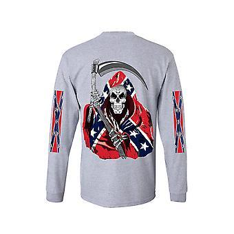 Menn ' s langermet skjorte konfødererte Rebel Flag Grim Reaper
