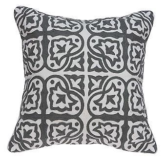 """20"""" x 0.5"""" x 20"""" Impresionante Cubierta de almohada tradicional gris y blanca"""
