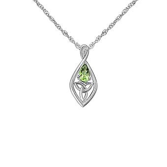 Celtic Holy Trinity Knot Oval Shaped Necklace Pendant - A Real Peridot Gemstone - Includes A 16
