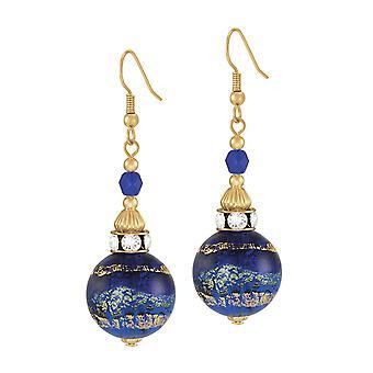 Ewige Sammlung Focale Kobalt Blau Murano Glas Gold-Ton Tropfen Ohrhänger