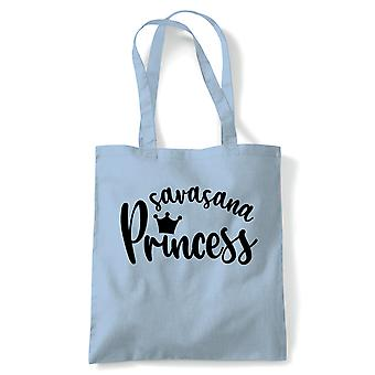 Savasana Prinzessin Tote | Yoga Yogi Sutra Mantra Stress Relief Relax Pose | Wiederverwendbare Shopping Baumwolle Leinwand lang behandelt natürliche Shopper Eco-Friendly Fashion