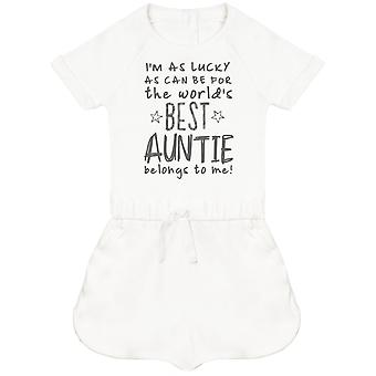 I'm As Lucky As Can Be Best Auntie belongs to me! Baby Playsuit