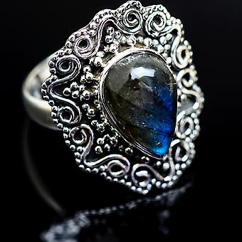 Labradorite ring størrelse 8 (925 sterling sølv)-håndlavede Boho vintage smykker RING980808