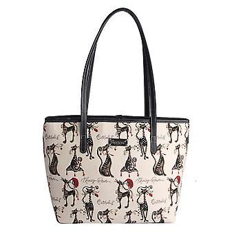 Marilyn robertson - catitude shoulder tote bag by signare tapestry / coll-cude