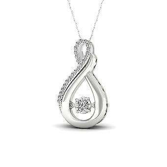 IGI certifié naturel 925 argent 0,02 CT diamant pendentif collier de mode