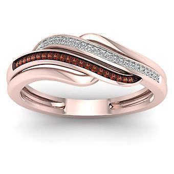 10 k Rose Gold 0,10 Ct TDW koniak i biały diament pierścionek mody