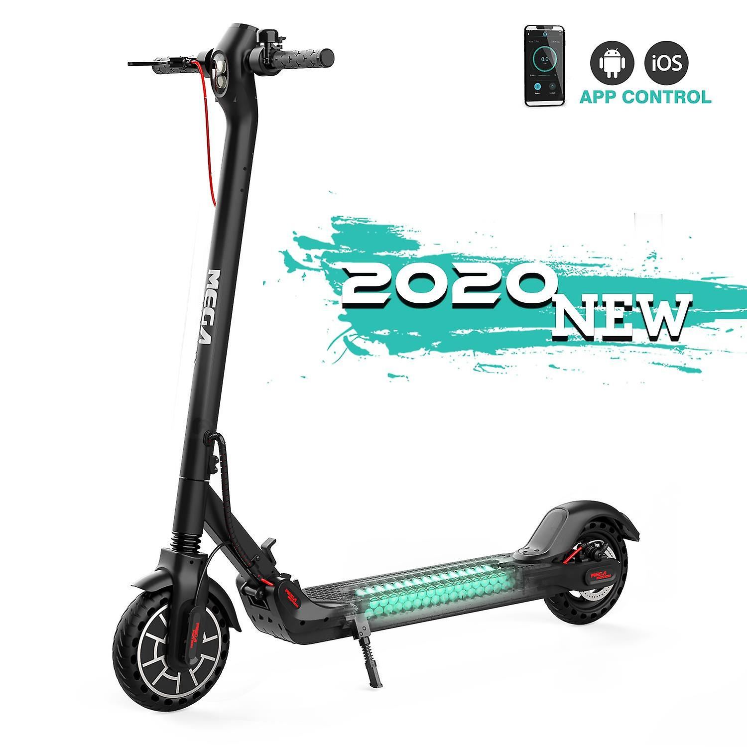 MegaMotion Electric Scooter M5 350W LED Display Screen App Foldable Black