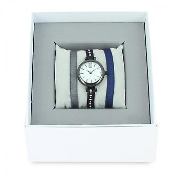 Coffret Les Interchangeables  A57347   - Montre Ruban Bracelet Noir Bo�tier Blanc Ruth�nium Femme