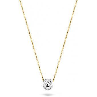 Blush 30529BZI necklace - Yellow gold 42cm zirconium oxide 4/8 mm set closed gold white Women