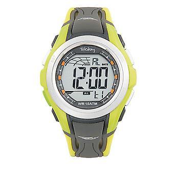 Tekday 655924 horloge-digitale multifunctionele siliconen geel en grijs mannen