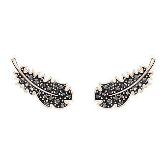 Swarovski Ohrringe 5509722 - M tal Rhodi Feder Muster Schwarz Kristalle Frauen