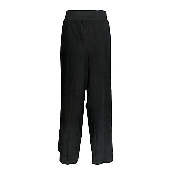 AnyBody Women's Plus Pants French Terry Snap Detail Black A367682