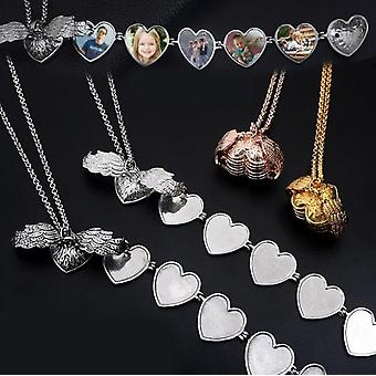 Herz Form Engel Flügel Foto Halskette