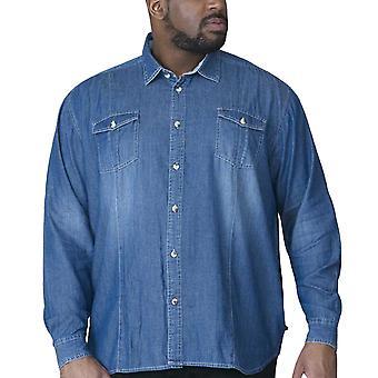 Duke D555 Mens Adcock Big Tall Casual Cotton Long Sleeve Denim Shirt - Vintage