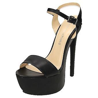 Koi Footwear High Heel Stiletto Platform Slingback Open Toe Shoes Faux Leather