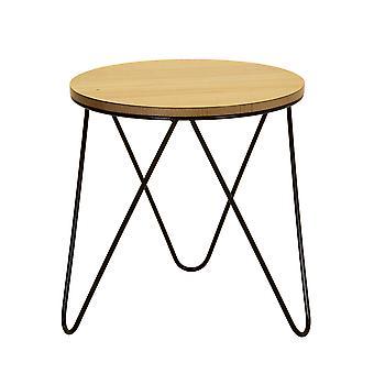 Charles Bentley Round Wood & Metal Hairpin Industrial/Rustik/Moderne seng/side/sofabord
