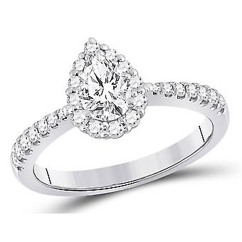 0.95 Carat (ctw G-H, I1) Pear Drop Diamond Engagement Ring in 14K White Gold