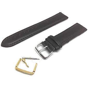 Calf leather watch strap dark brown padded round classic look sizes 6mm to 24mm
