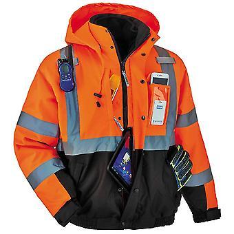 Hoge zichtbaarheid reflecterende Winter Bomber Jacket, Zwart, Oranje, Grootte Medium