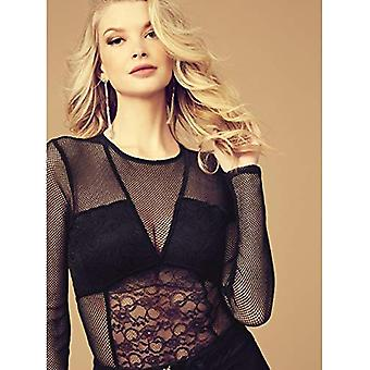 GUESS Women's Long Sleeve Cyon LACE Bodysuit, Jet Black a, S