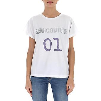 Semi-couture Y0sj11a01 Women's White Cotton T-shirt