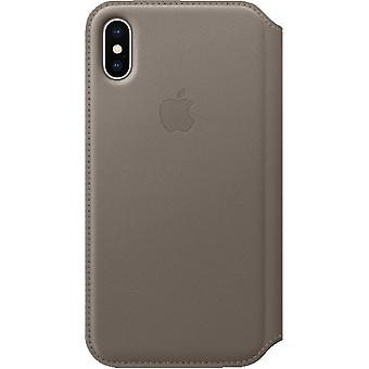 Originele Packed MQRY2ZM/A Apple iPhone X Folio Echte lederen Flip Sleeve Cover - taupe