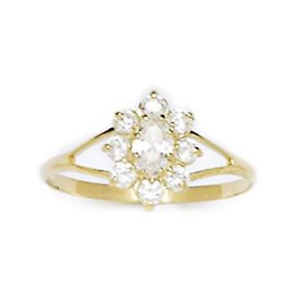 14k Yellow Gold CZ Cubic Zirconia Simulated Diamond Size 5.5 Oval Flower for boys or girls Ring