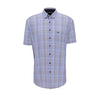 Fynch-Hatton Fynch-hatton Fond Check Shirt Earth Blue