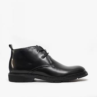 Roamers Stefan Mens Leather Lace Up Chukka Boots Black