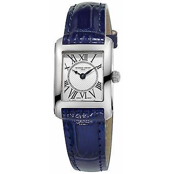 Frederique Constant Womens Carree blauw lederen riem Silver Dial FC-200MC16 Watch