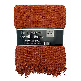 Country Club Luxury Woven Chenille Throw 127 x 152cm, Terracotta