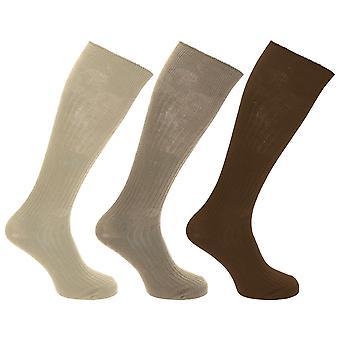 Mens 100% bomull ribbet knehøye sokker (pakke med 3)