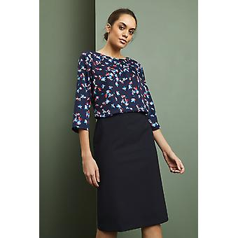 SIMON JERSEY Tuck Front 3/4 Sleeve Blouse, Blue Floral