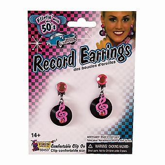 Bristol Novelty Unisex Adults Rock N Roll Record Earrings