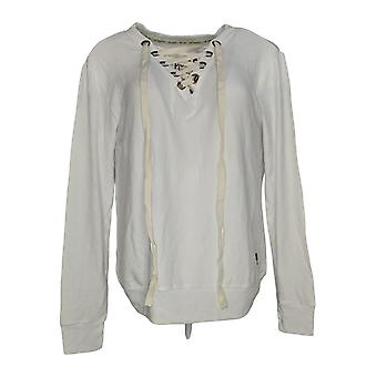 Peace Love World Women's Top Comfy Knit Lace Up V Neck White A290273