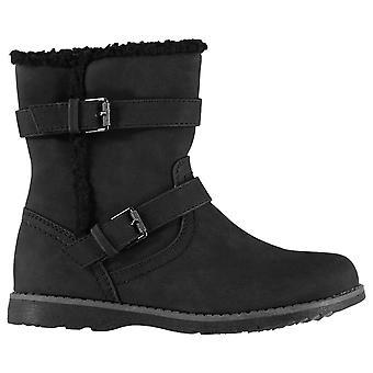 Miso Girls Kids Faith Buckle Strap Warm Lining Biker Boots Winter Shoes