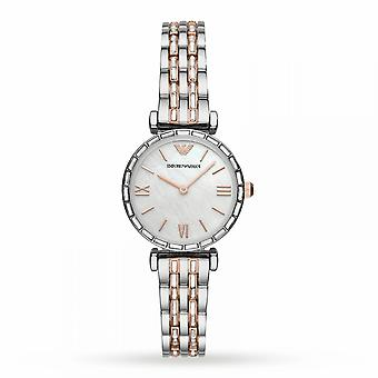 Armani Watches Ar11290 Gianni T-bar Mother Of Pearl, Silver & Rose Gold Stainless Steel Ladies Watch