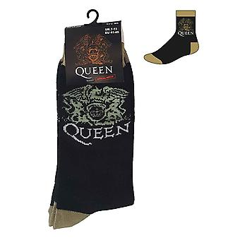 Queen Socks Classic Crest Band Logo new Official Mens Black UK Size 7-11