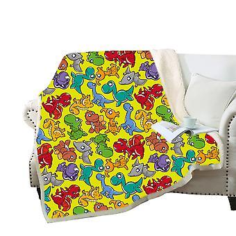 Cobertor 3D dinossauros coloridos de desenho animado cobertor Poliéster cobertor multiuso de alta qualidade