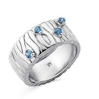 Orphelia Silver 925 Ring with Fancy blue  zirconia Rhodium plated
