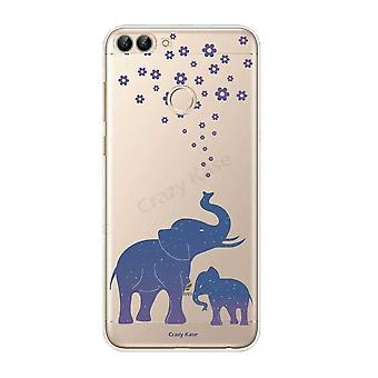 هال ل Huawei P الذكية 2018 نمط الفيل الأزرق مرنة