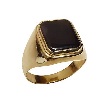 Christian yellow gold onyx ring
