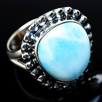 Larimar Ring Size 7.25 (925 Sterling Silver)  - Handmade Boho Vintage Jewelry RING11471