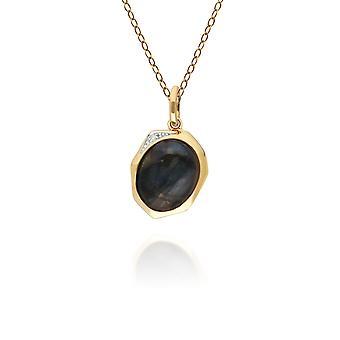 Uregelmessig B Gem Labradorite & Diamond anheng halskjede i gull belagt sterling sølv 270P029305925