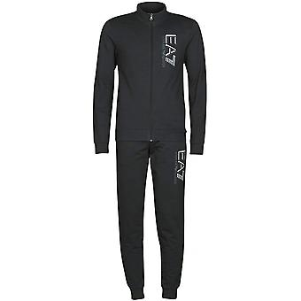 EA7 by Emporio Armani Funnel Neck Zip Black Cotton Tracksuit