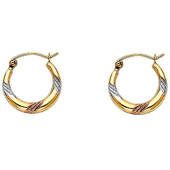 14k Yellow Gold White Gold and Rose Gold Fancy Hollow Hoop Earrings 15x15mm Jewelry Gifts for Women