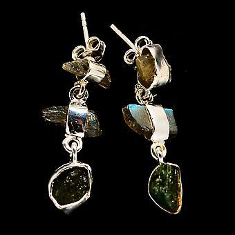 "Rough Green Tourmaline, Boucles d'oreilles Labradorite 1 1/4"" (925 Sterling Argent) - Bijoux Boho Vintage handmade EAR402391"