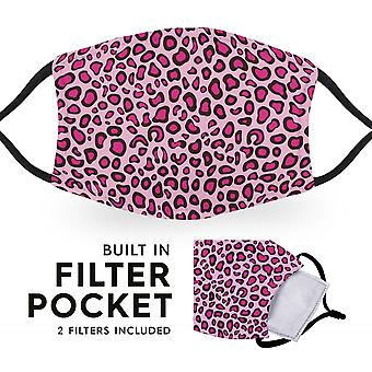 Pink Leopard Print - Reusable Adult Cloth Face Masks - 2 Filters Included